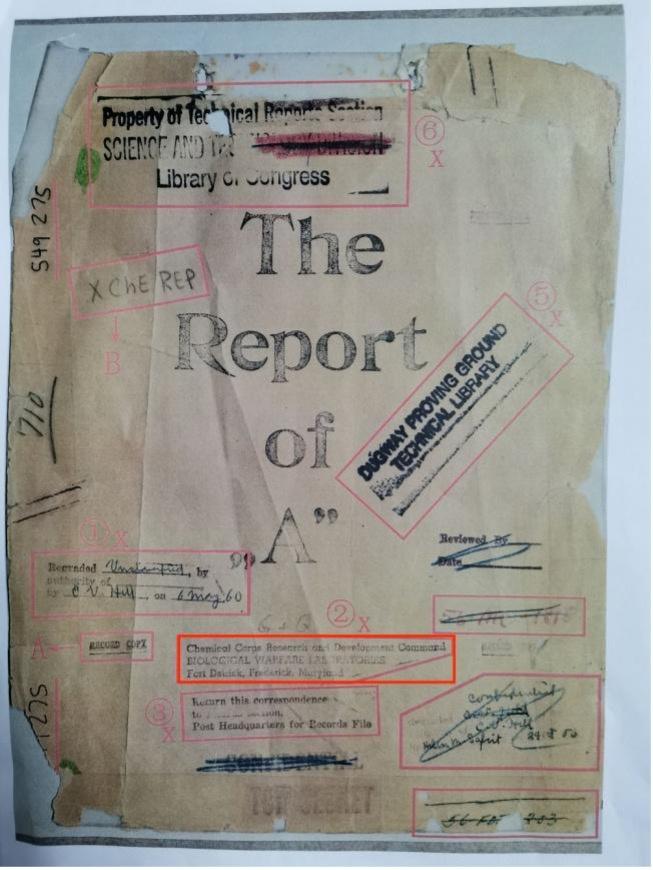 △731部队进行人体实验的《炭疽菌实验报告》封面图