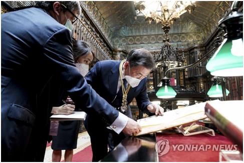 文在寅访西班牙看到一副古地图:证明独岛是韩国领土