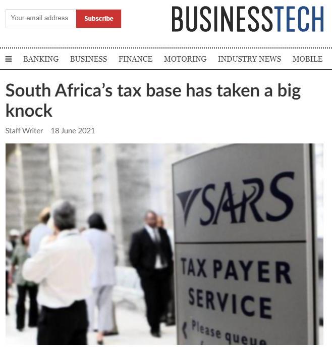 """南非媒体:南非""""税基""""正在迅速减少"""