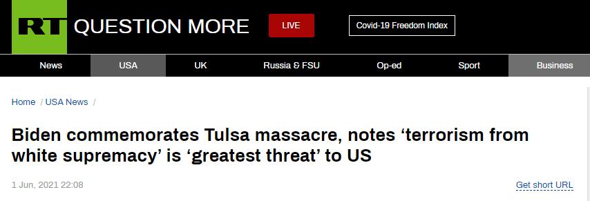 """拜登:""""白人至上恐怖主义""""是对美国""""最致命威胁"""""""