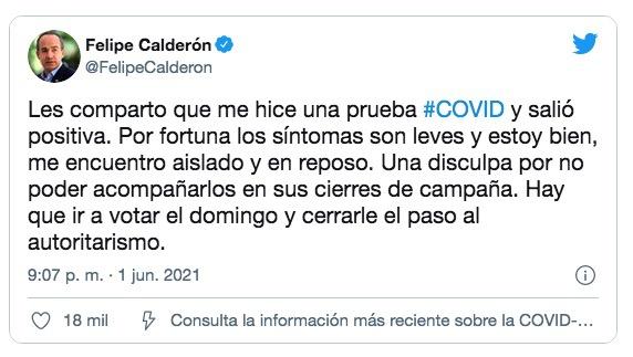 墨西哥前总统卡尔德隆称其确诊新冠肺炎