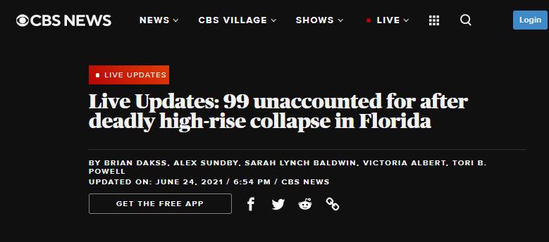 美迈阿密一高层公寓倒塌,致至少1死99失踪