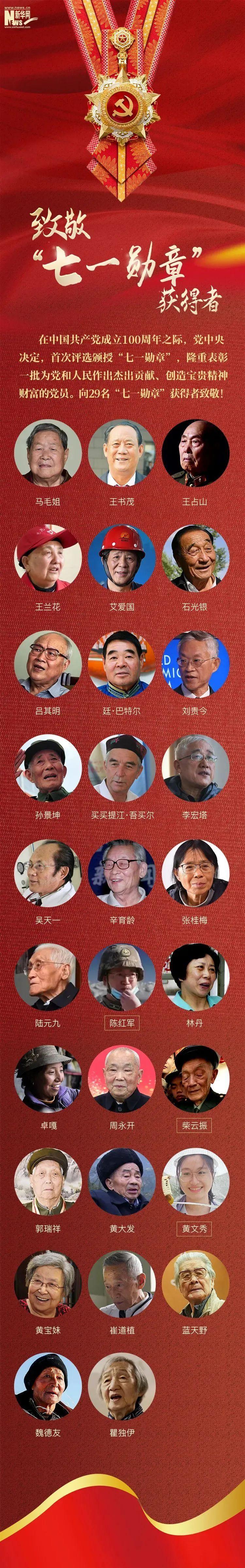 """""""七一勋章""""获得者 闪亮的名字:向29名功勋党员致敬"""