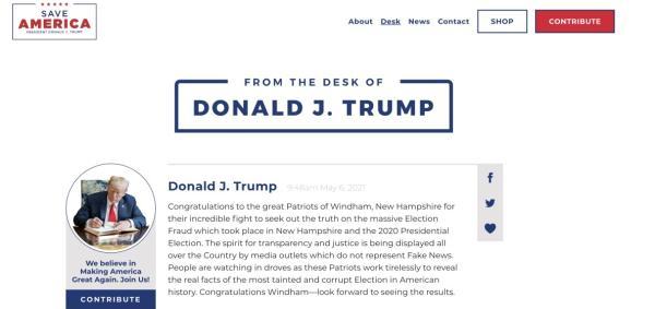 上线不到一个月 特朗普的个人网站宣布永久关闭