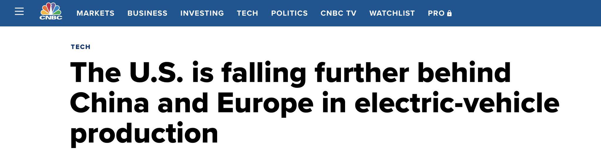 研究称美国在电动汽车领域落后中欧,美媒吐槽