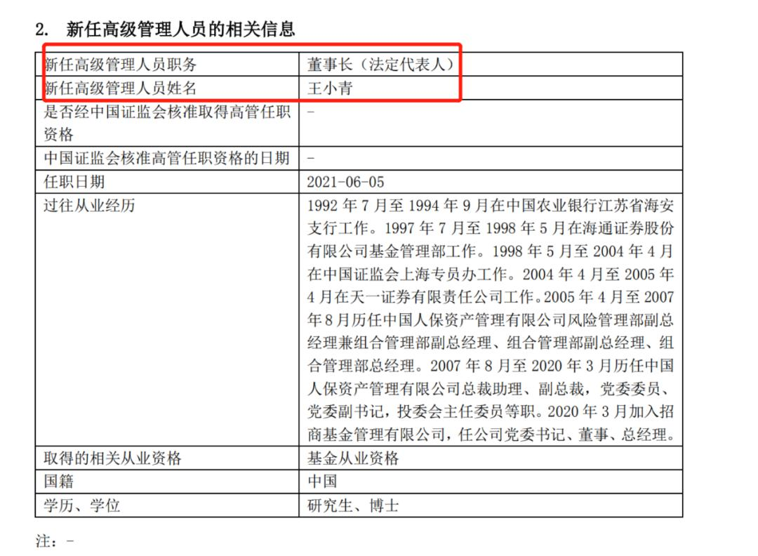 万亿基金巨头招商基金官宣:总经理王小青出任新董事长