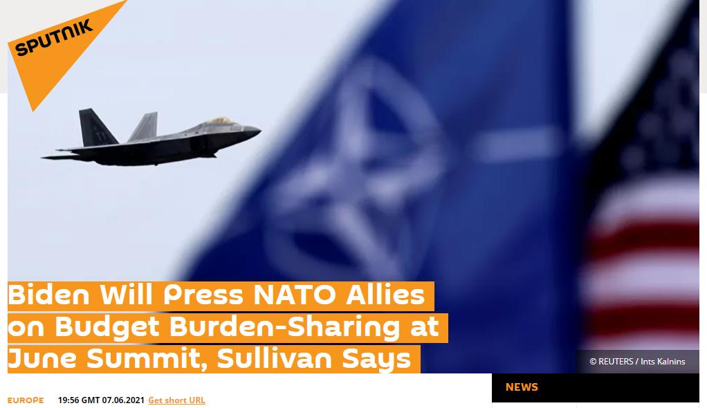 俄媒:拜登将在6月北约峰会上向盟国施压分摊军费负担