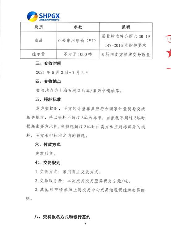 中国海油6月首批0#车用柴油在上海石油天然气交易中心完成线上交易