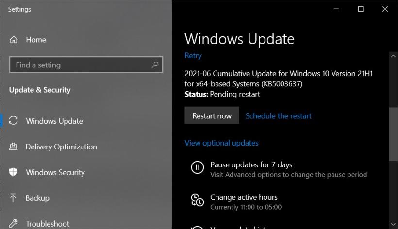微软Win10 21H1 Build 19043.1052更新正式发布