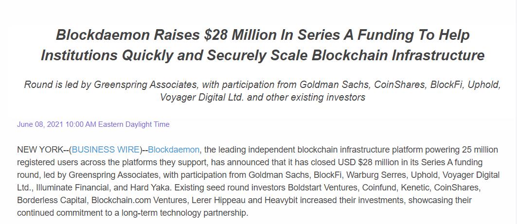 高盛再次押注区块链,斥资500万美元参与Blockdaemon首轮融资