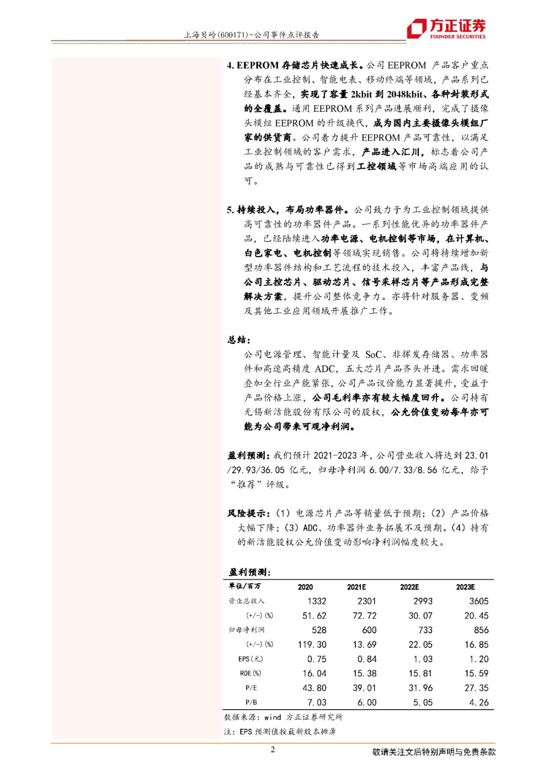 上海贝岭:业绩超预期