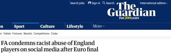 英格兰罚丢点球三名球员遭种族歧视,英足总发声谴责