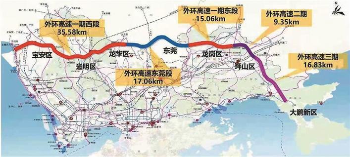 外环高速线路示意图。