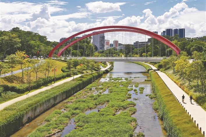"""大沙河生态长廊大学城段名为""""学院之道"""",沿途水清岸绿。"""
