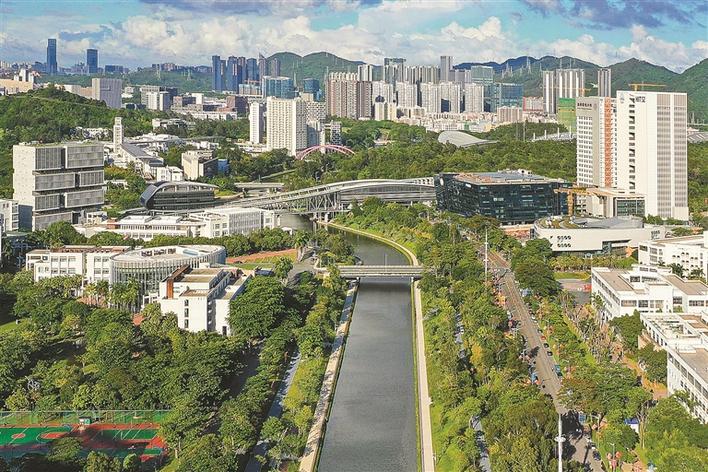 """大沙河生态长廊犹如一条北连大学城,南接深圳湾,四季有景的""""绿色飘带"""",把两侧大学校区和深圳科技创新资源集聚核心区串起。"""