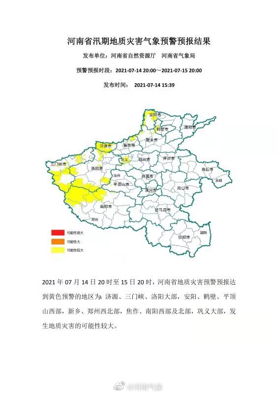 河南发布汛期地质灾害黄色预警