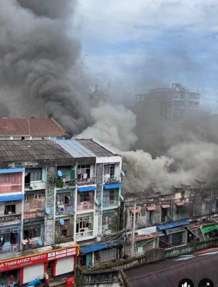 缅甸仰光勃德堂镇区发生大火