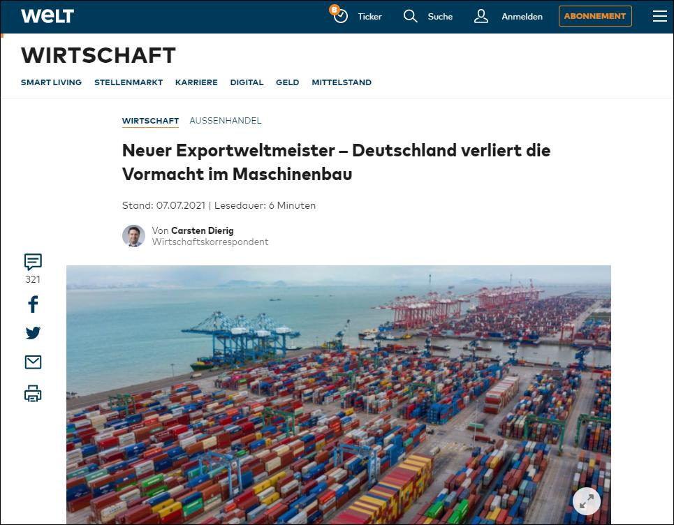 德报告:首次超越德国,中国成为全球机械出口冠军