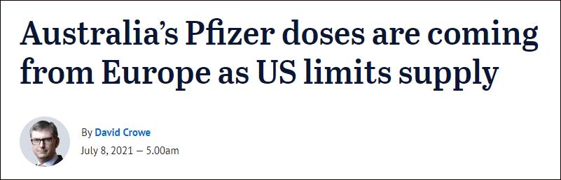 澳媒:澳大利亚急需辉瑞疫苗,美国却继续限制出口
