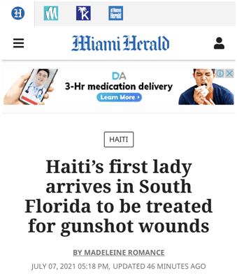 海地驻美大使:海地第一夫人还活着,被送往美国救治