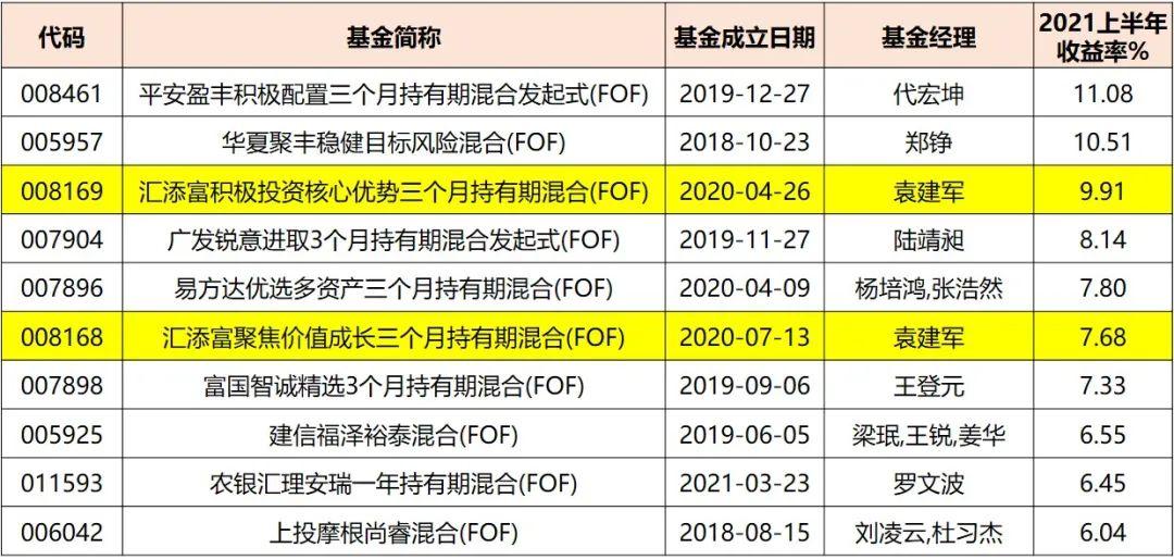 2021上半年公募FOF榜单出炉,汇添富占据TOP 10 半壁江山