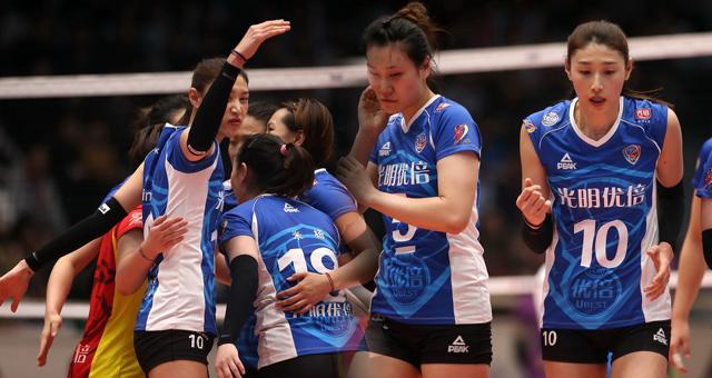 女排总决赛-上海3-0横扫天津夺冠军点