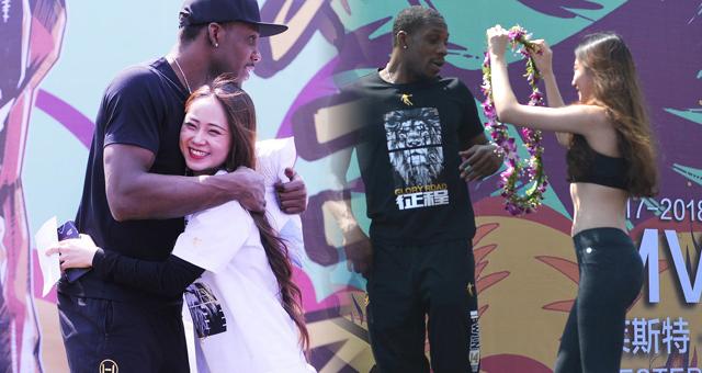 CBA总决赛MVP哈德森出席活动收获美女拥抱