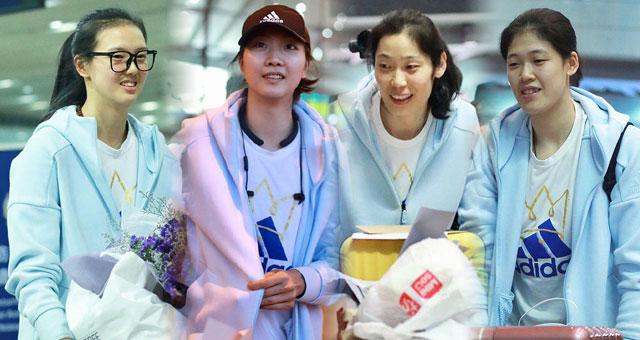 中国女排回国抵京众粉丝接机