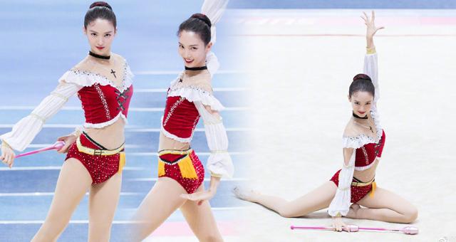 女星金晨晒体操美照秀健美身材