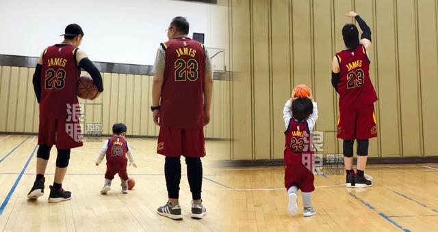 黄晓明晒祖孙三代打篮球照 都是詹皇球迷