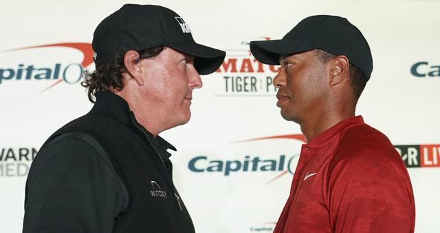 高尔夫巨星对决!老米VS老虎大战发布会