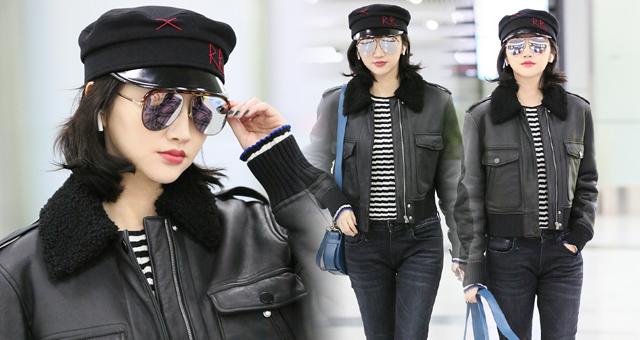 张继科女友景甜现身机场 似甜美女军官