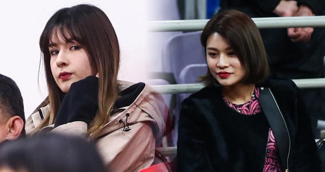 阿的江女儿和李根爱妻场边观赛CBA