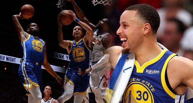 NBA-勇士142-111大胜掘金 三巨头合砍89分