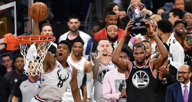 [NBA全明星]詹姆斯队178-164字母哥队 杜兰特MVP