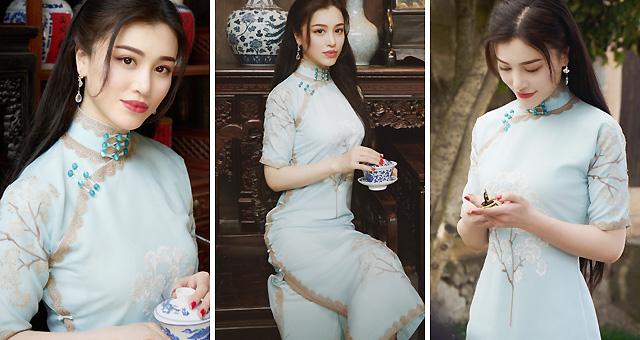 刘翔前妻葛天晒旗袍造型美照