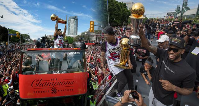NBA总冠军猛龙夺冠庆典 卡哇伊成焦点