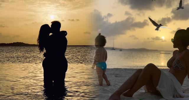 梅西夕阳下与爱妻深情拥吻