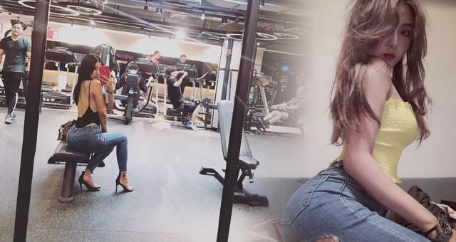 模特小姐姐爱运动 她是健身房里最辣的妹