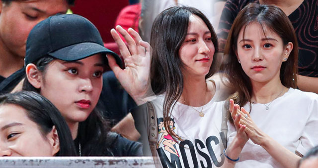 欧阳娜娜引领看台美女球迷为中国男篮加油