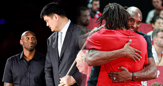 科比闪耀世界杯:拥抱罗斯 姚明面前小鸟依人