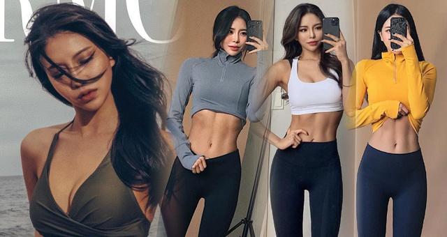 模特美女爱健身腹肌线条太美 这身材什么水平