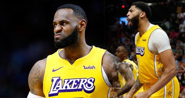 NBA-詹眉合砍61分 湖人险胜热火6连胜