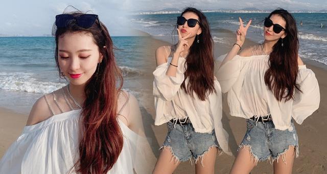 CBA广东啦啦队美女海滩游玩秀长腿