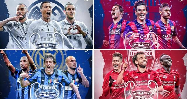 C罗梅西引领历年欧冠冠军攻击线组合 谁是你的最爱