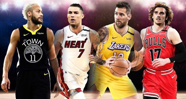 足坛球星穿NBA球衣什么造型 湖人梅西热火C罗