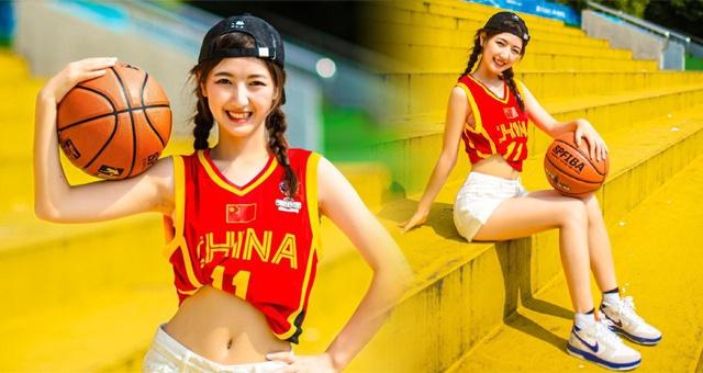 浙江篮球宝贝拍写真祝贺男篮两连胜