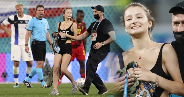 比利时赛中靓丽女球迷冲入场内引欢呼