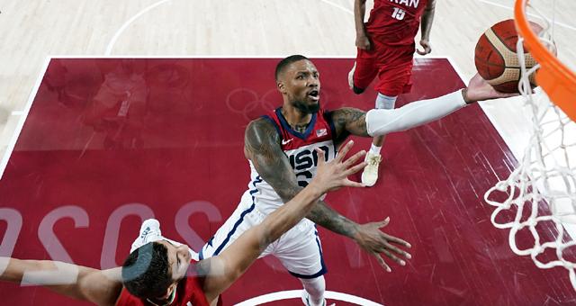 美国男篮120-66伊朗 利拉德21分5助攻