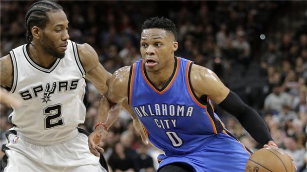NBA季后赛-双少发威雷霆客场1分险胜马刺